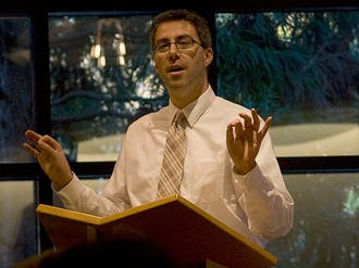 Dan Butin,  dean of the school of education at Merrimack College, spoke in the Freeman Center for Jewish Life Wednesday on service.