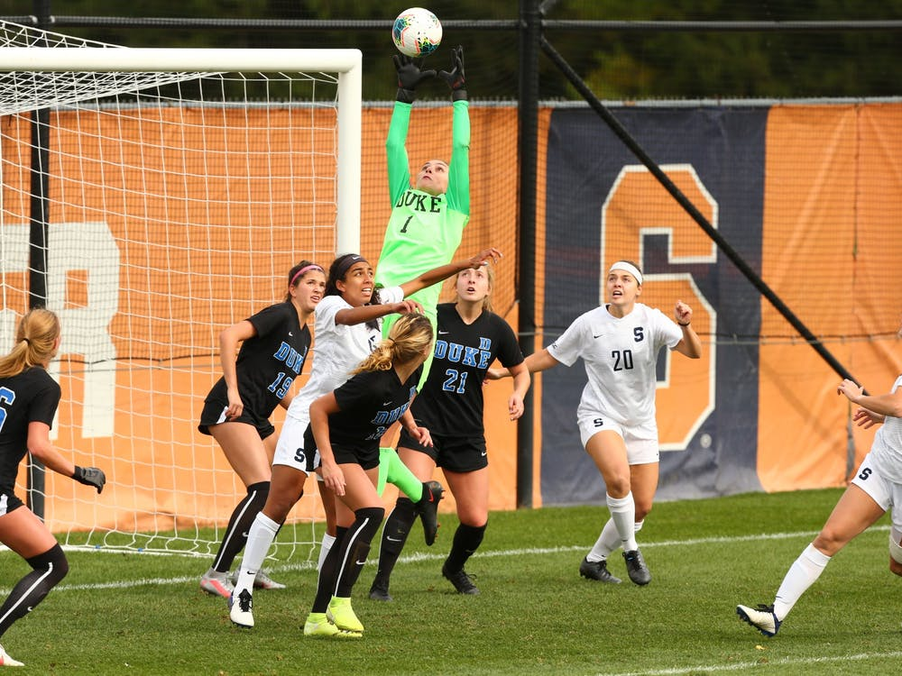 Duke hasn't allowed a goal for 411 consecutive minutes dating back to Sept. 27.