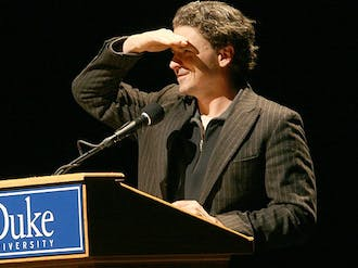 Dave  Eggers, an accomplished author and human rights advocate, spoke at this year's Weaver Memorial Lecture in Page Auditorium Wednesday.