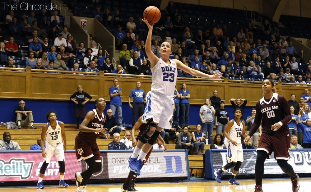 <p>Redshirt sophomore Rebecca Greenwell scored 11 of Duke's 16 points as Duke jumped out to an early lead, but it did not last.</p>