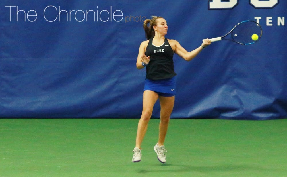 <p>Rebecca Smaller pulled out a clutch win Sunday to give the Blue Devils a second straight win against Northwestern in the past week.&nbsp;</p>