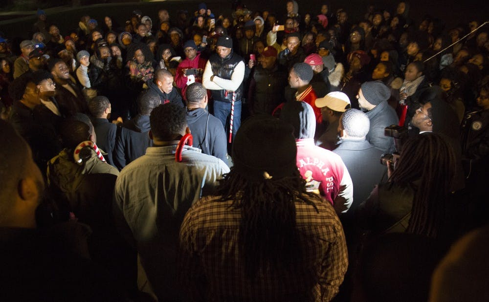 <p>Outside of Duke Chapel, Kappa Alpha Psi, Inc., a National Pan-Hellenic Council fraternity, held its probate Saturday to reveal its new members to a large crowd.</p>