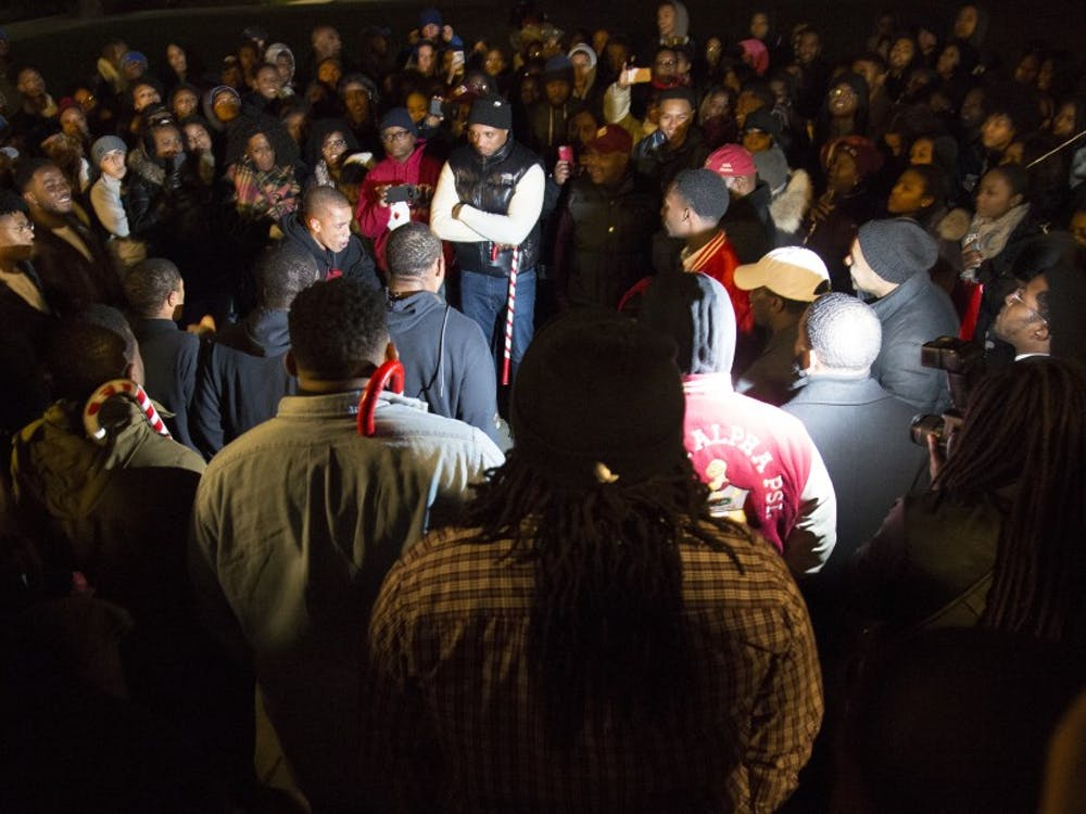 Outside of Duke Chapel, Kappa Alpha Psi, Inc., a National Pan-Hellenic Council fraternity, held its probate Saturday to reveal its new members to a large crowd.