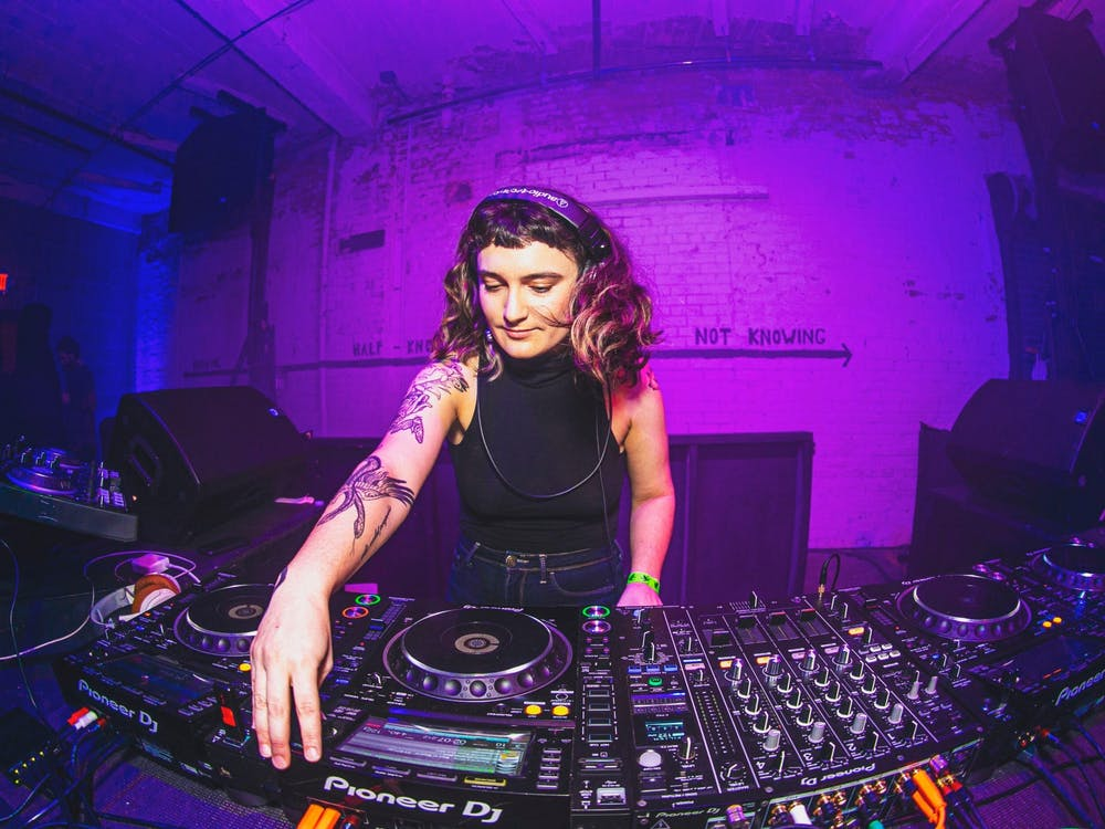 Sarah Damsky DJing at The Fruit in December 2019.