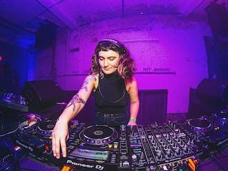 Sarah Damsky DJing at The Fruit in December 2019.
