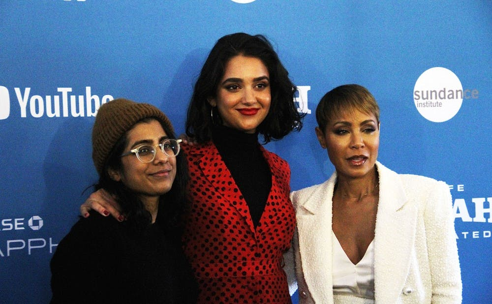 """Hala"" director Minhal Baig, actress Geraldine Viswanathan and executive producer Jada Pinkett-Smith at Sundance Film Festival."