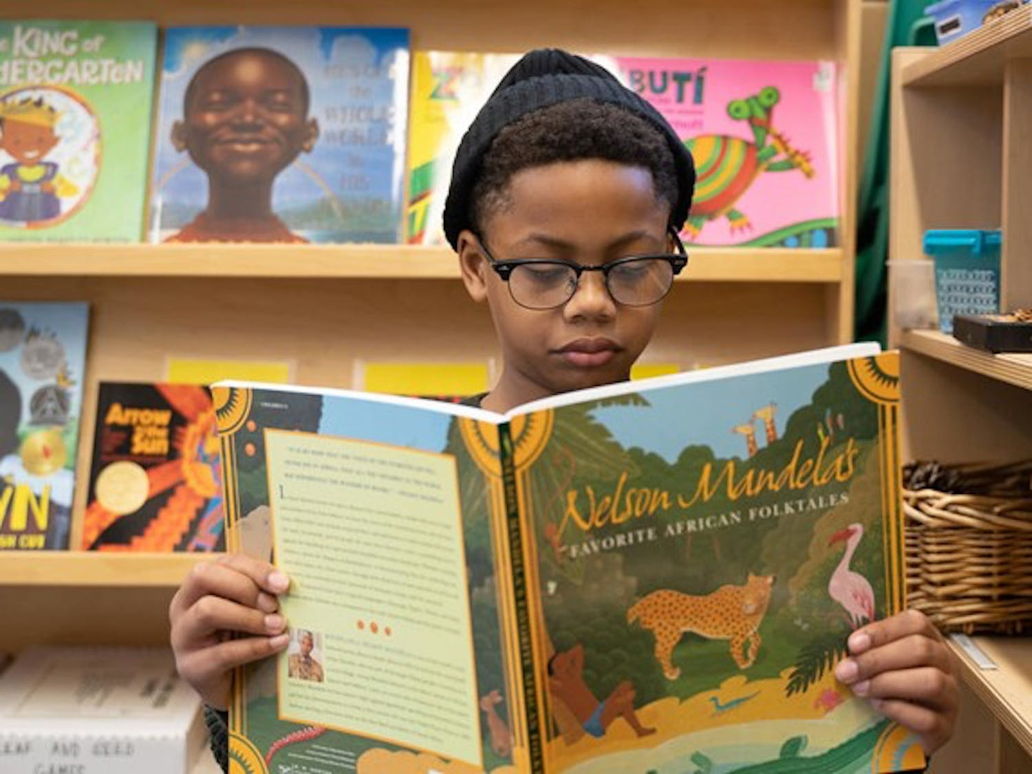 """Liberation Station's """"Black Lit Library,"""" a pop-up library created to be a safe reading space for children of color, was recently added to the Duke Gardens  as a permanent part of the Gardens' classroom resources."""