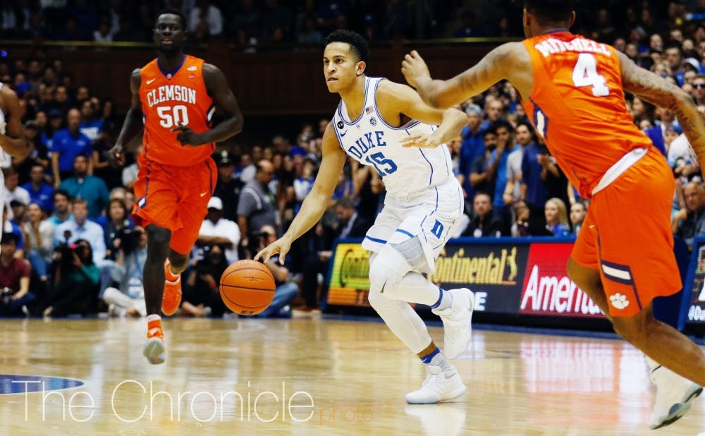 <p>Frank Jackson made two early triples but soon went quiet against Clemson, along with the rest of Duke's freshmen.</p>