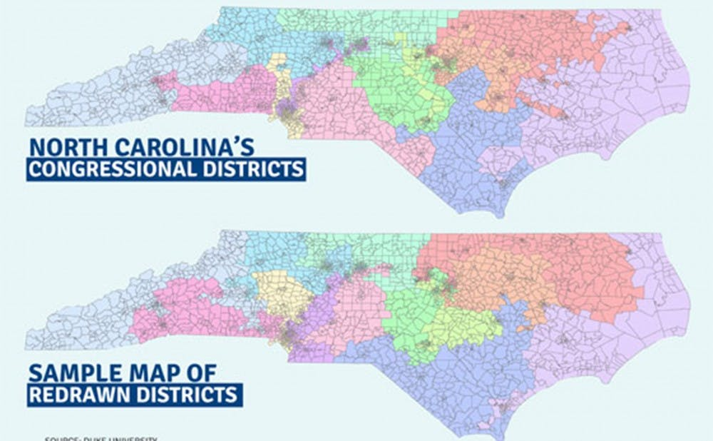 <p>A 2014 map provided by the University illustrates the shifts that can occur because of congressional redistricting in North Carolina.</p>