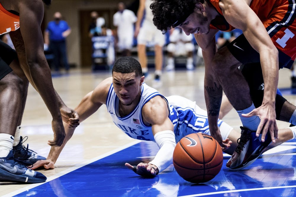 <p>Jordan Goldwire's defensive effort was one of the few bright spots for Duke in the first half Wednesday.</p>