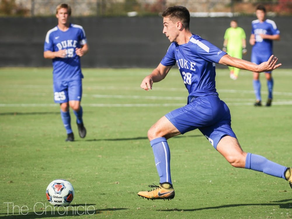 Freshman Jack Doran tried to spark Duke's offense with three shots on goal, but all of them were saved by Clemson goalkeeper Ximo Miralles.