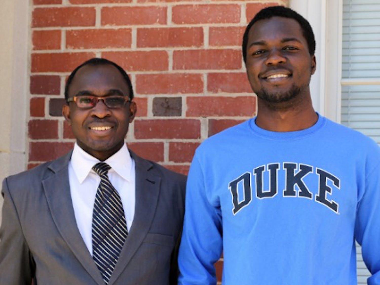 Kenneth Rubango (right) and Henry Kiwumulo (left) received full scholarships to study biomedical engineering at Duke.