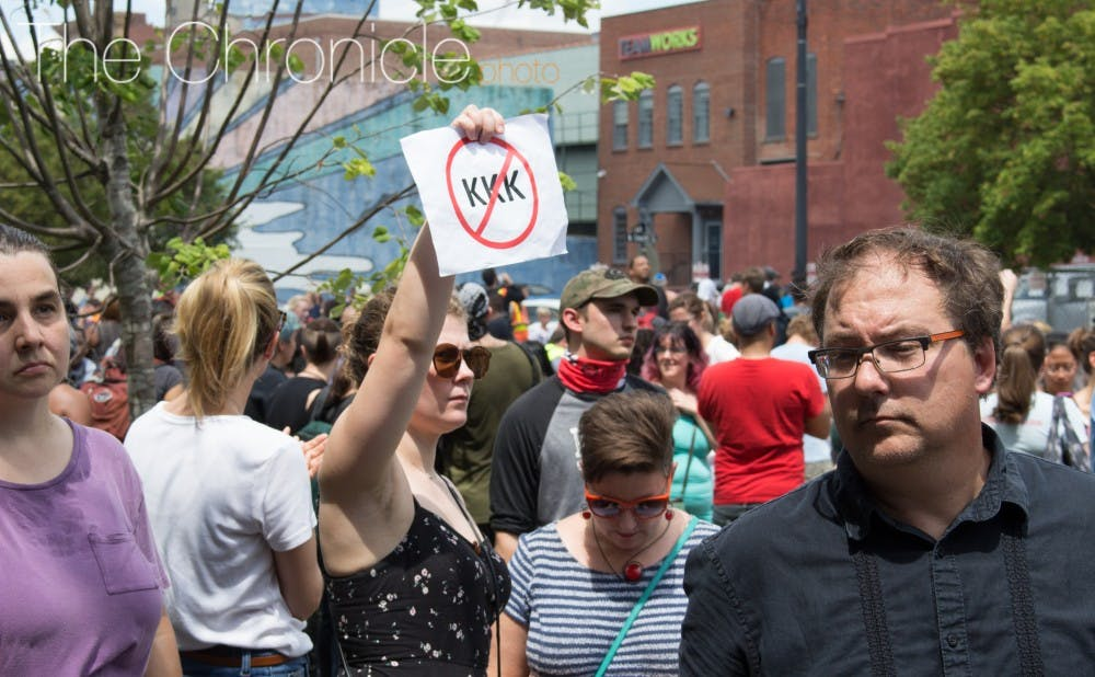 <p>Protestors gathered downtown Friday in response to rumors of a white supremacist rally.</p>