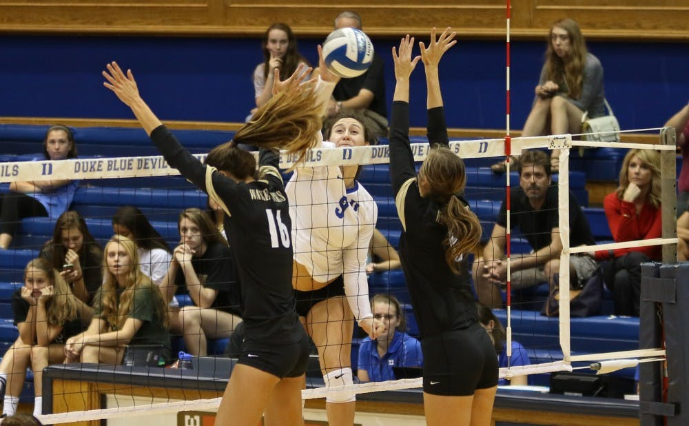 <p>Senior Emily Sklar moved into 10th place on Duke's all-time kills list Wednesday after putting down 23 against Wake Forest.</p>