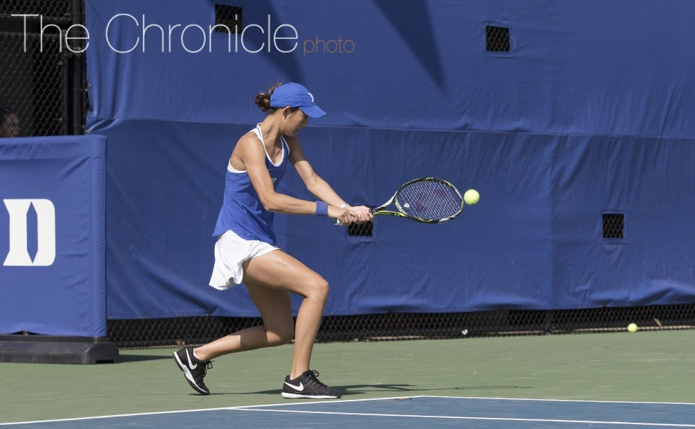 <p>Despite failing to put her opponent away when she had a few chances Sunday, freshman Meible Chi sealed her team's seventh straight ACC victory.</p>