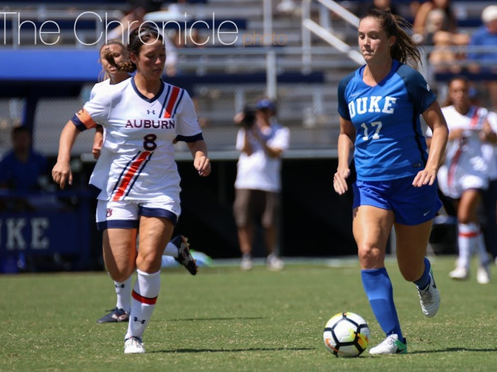 After leading Duke in scoring last season, Ella Stevens scored her first goal of 2017 with a free kick from just outside the 18-yard box.