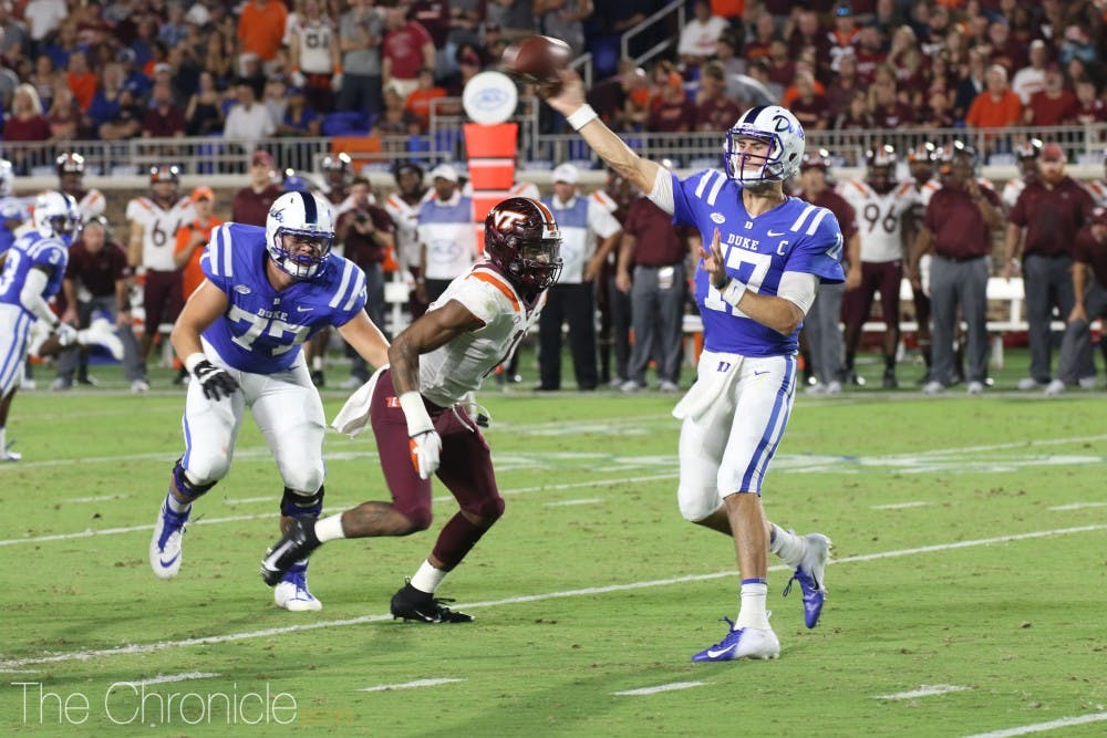 <p>Daniel Jones struggled to get much going for Duke's offense in its 31-14 loss to Virginia Tech.</p>