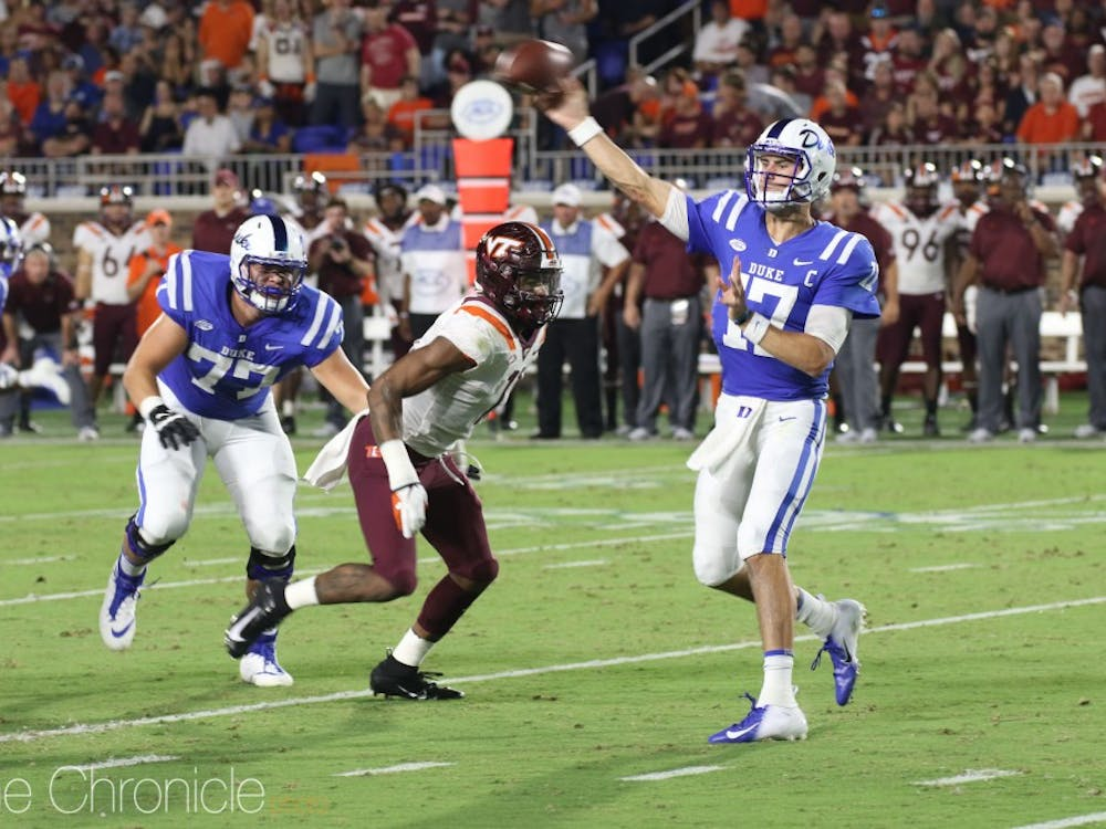 Daniel Jones struggled to get much going for Duke's offense in its 31-14 loss to Virginia Tech.