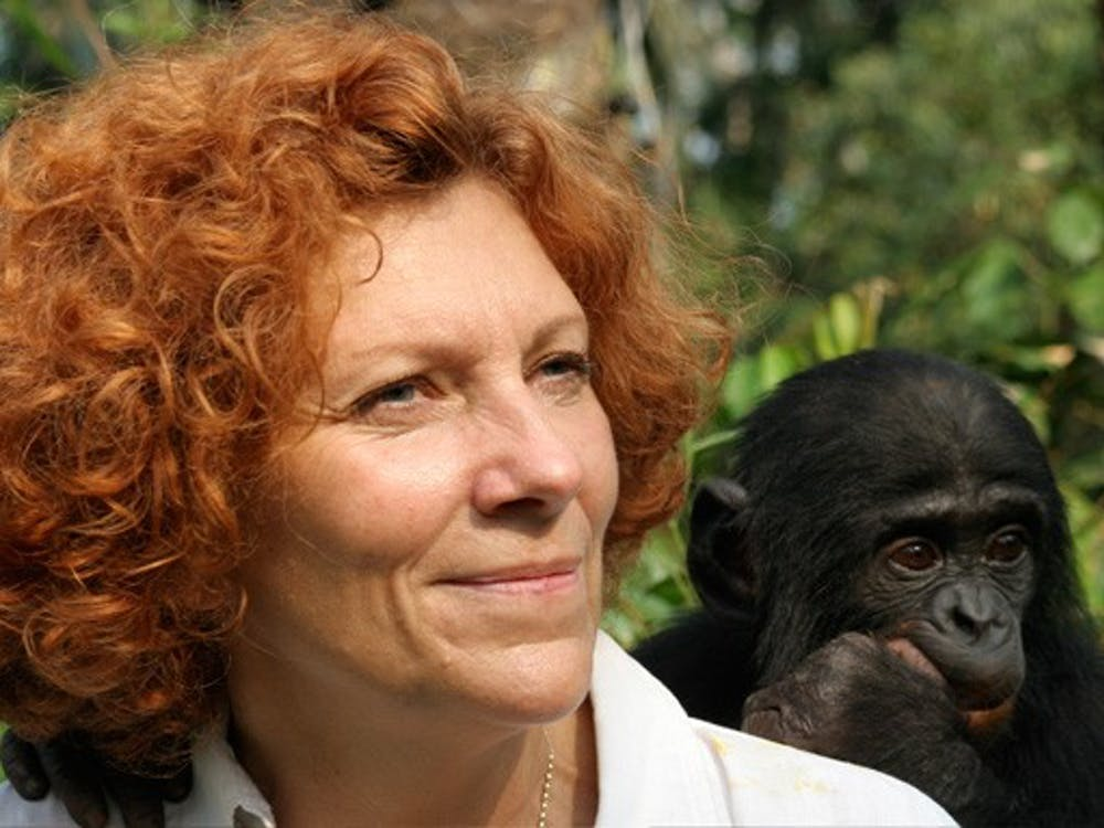 """special to The Chronicle  Bonobo conservationist Claudine André will speak tonight at 7 p.m. in Love Auditorium as part of Duke's """"Primate Palooza."""" André is the founder of the only bonobo sanctuary in the Democratic Republic of Congo."""
