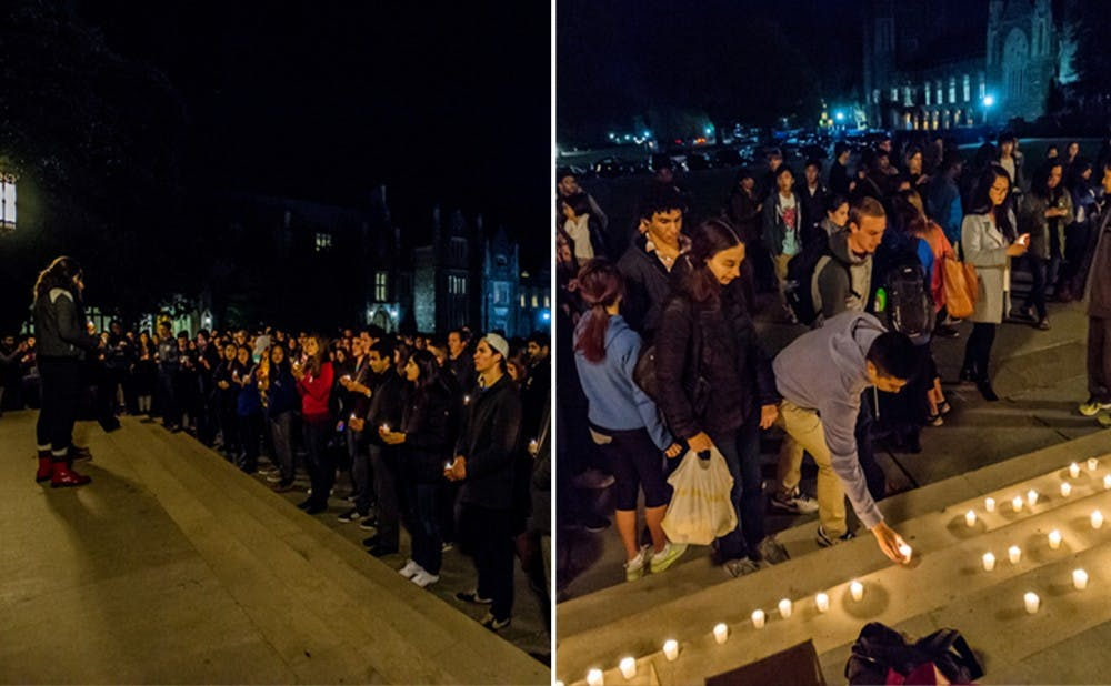 <p>Students at Duke paid their respects to those lost in recent attacks around the globe Saturday evening. The Global Education Office worked quickly Friday to make sure those in Paris were accounted for.</p>