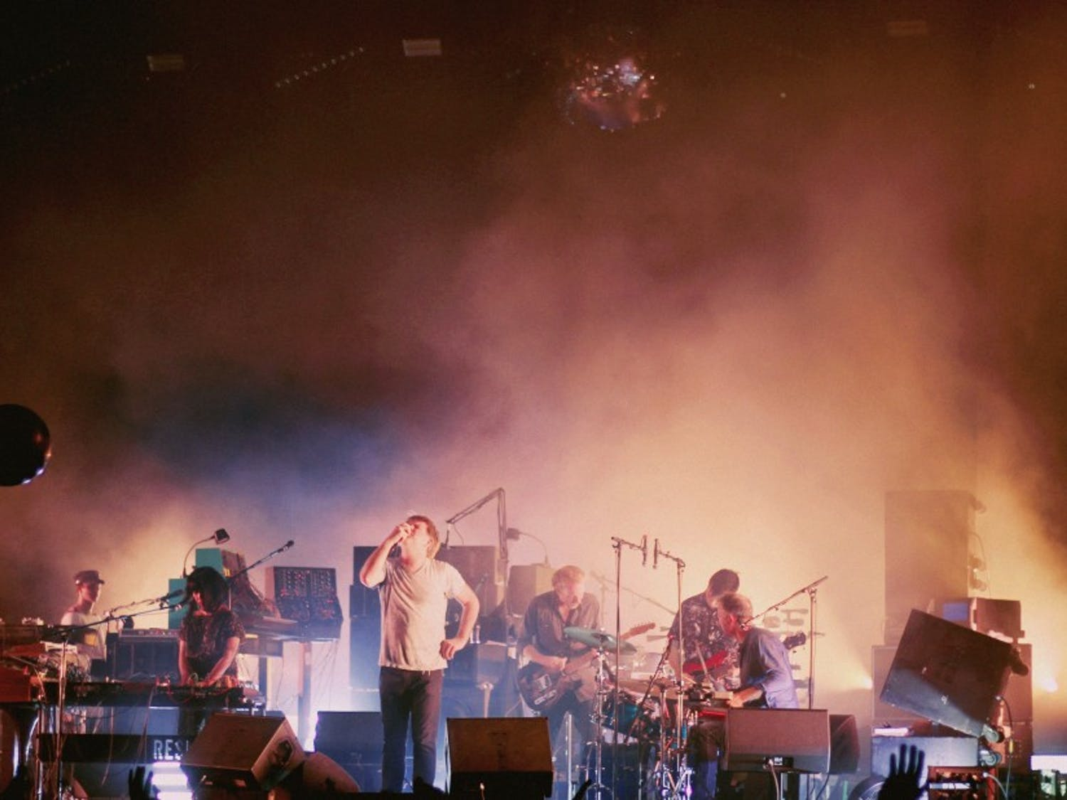 """Pictured in May at Atlanta's Shaky Knees Fest, James Murphy (center) and LCD Soundsystem returned from retirement with """"American Dream."""""""