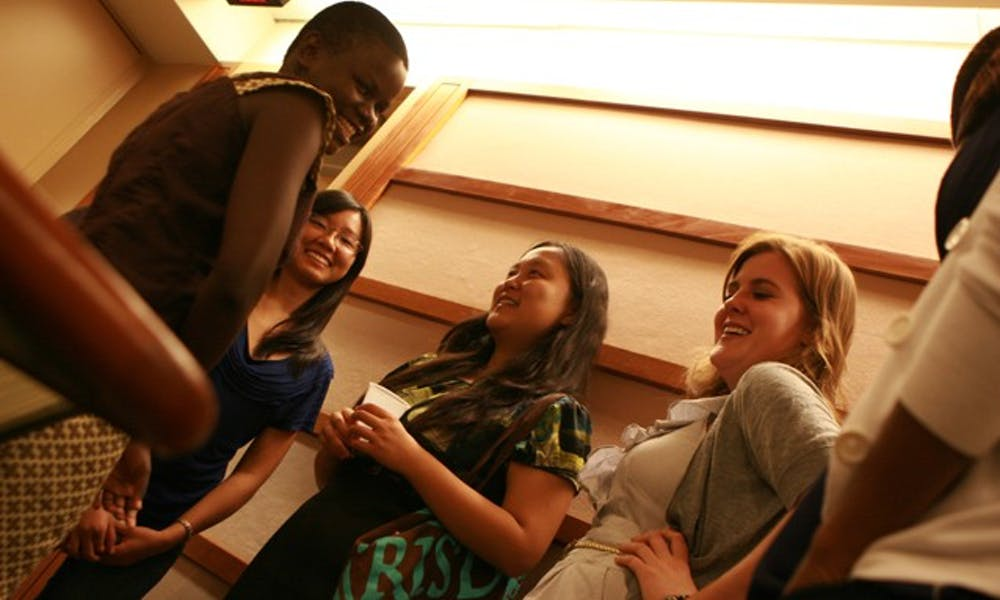 Floviance, a WISER student, speaks with Duke students after the WISER panel discussion on Thursday, September 29.