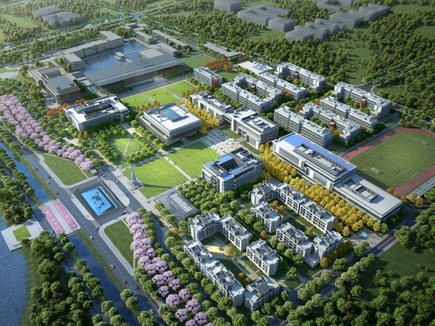 A birds-eye rendering of the future of DKU, which will greatly increase the size of Duke Kunshan University to include new classrooms, laboratories and more.