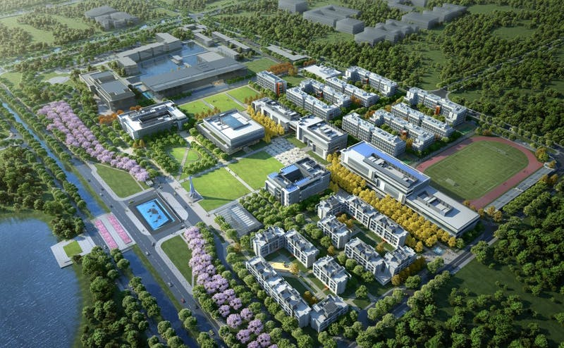 A birds-eye rendering of Phase 2 construction, which will greatly increase the size of Duke Kunshan University to include new classrooms, laboratories and more. Courtesy of Duke Kunshan University.