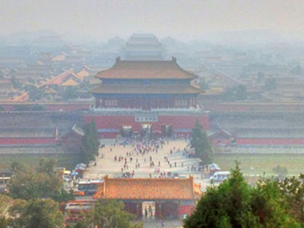 Researchers exposed laboratory rats to Beijing's air pollution, pictured above, to make their findings about gaining weight.