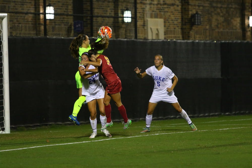 <p>Sophomore E.J. Proctor came up big again in net Friday night for the Blue Devils, who have not allowed a goal through five games.</p>