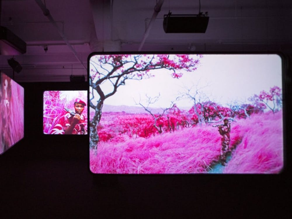 "Richard Mosse's video ""The Enclave"" highlights the experiences of those living in war-torn countries. The video is 40 minutes long in its entirety and located in the back right pavilion."