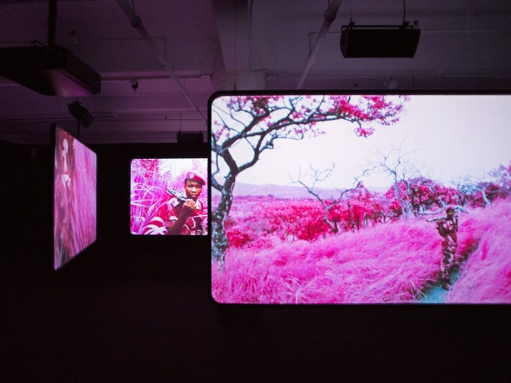 """Richard Mosse's video """"The Enclave"""" highlights the experiences of those living in war-torn countries. The video is 40 minutes long in its entirety and located in the back right pavilion."""