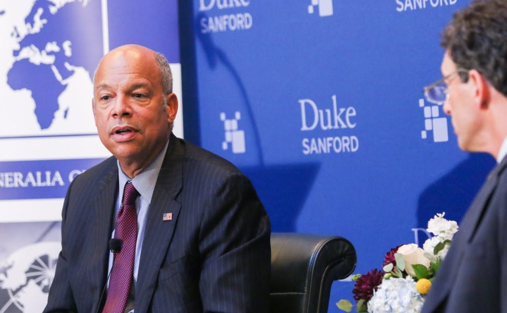 <p>Jeh Johnson discussed the evolution of terrorist threats against the United States and his thoughts on immigration at a talk Thursday night.</p>