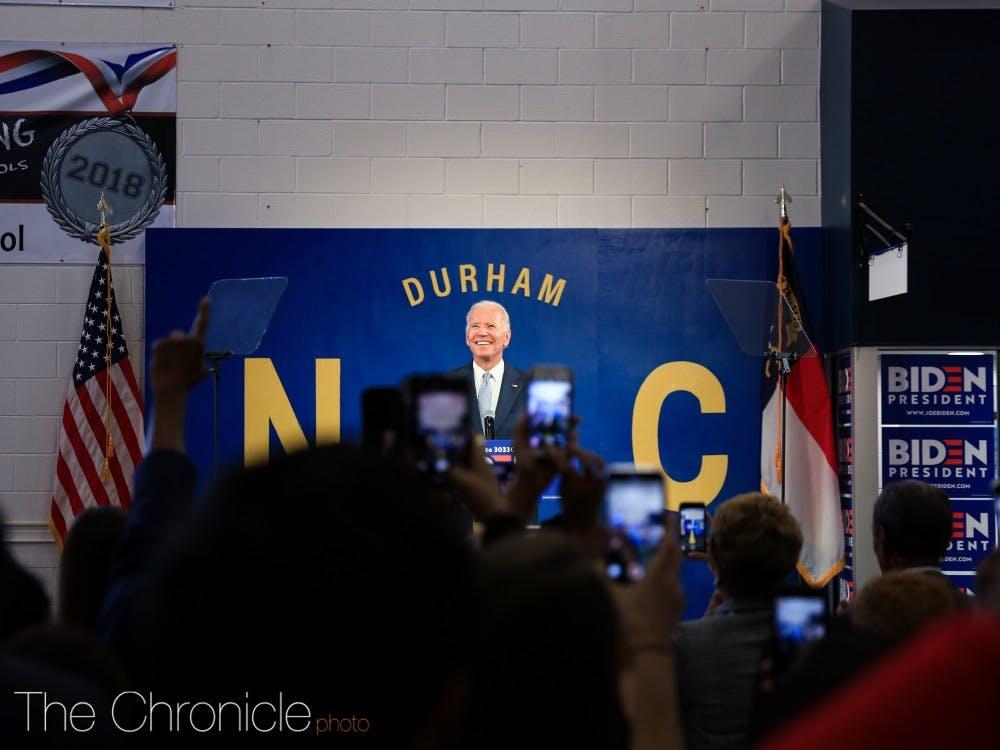 <p>Joe Biden at Hillside High School on October 27, 2019.</p>