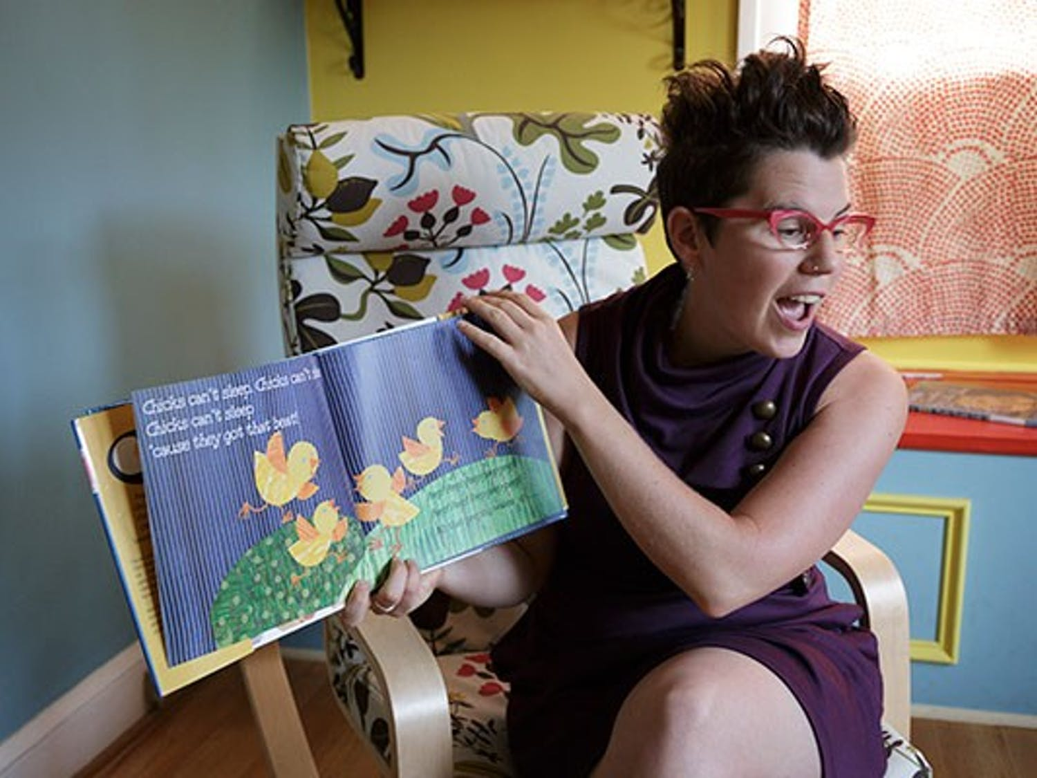 Formerly a librarian, Godfrey now works independently in her children's storytelling venture.