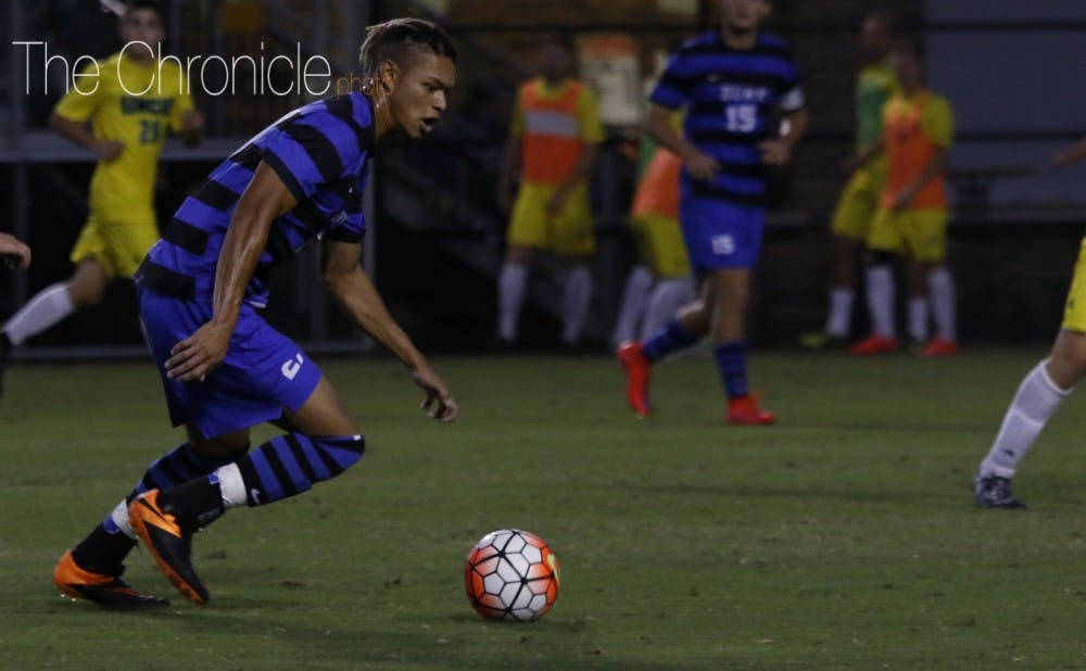 <p>After scoring a goal at the tail-end of Duke's 6-2 win Friday against N.C. State, sophomore Macario Hing-Glover will look to keep the offensive momentum going Tuesday night.</p>
