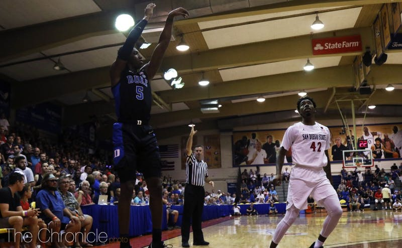 R.J. Barrett sparked Duke's offense with 16 first-half points Monday.
