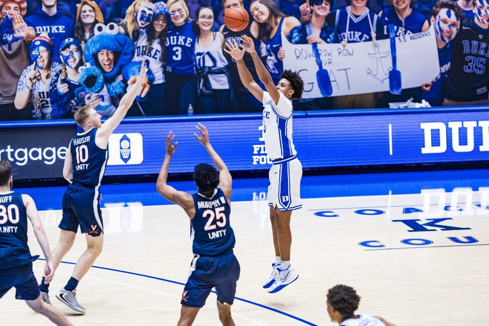 Freshman forward Jaemyn Brakefield notched 11 points in a career-high 29 minutes in Duke men's basketball's win against Virginia Saturday.