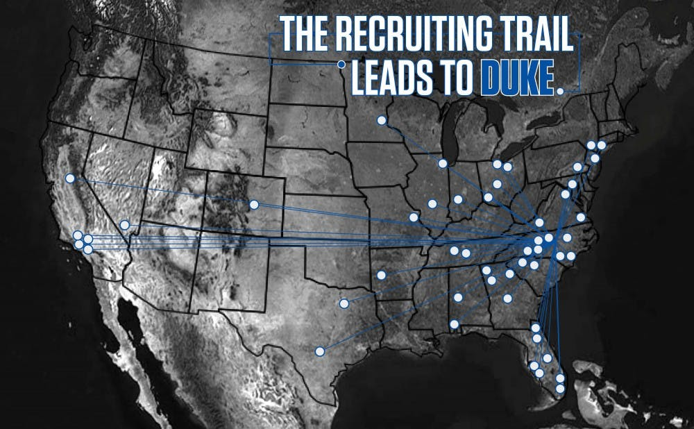 <p>Duke draws its talent from all over the country, with a heavy focus on North Carolina, Georgia and Florida.</p>
