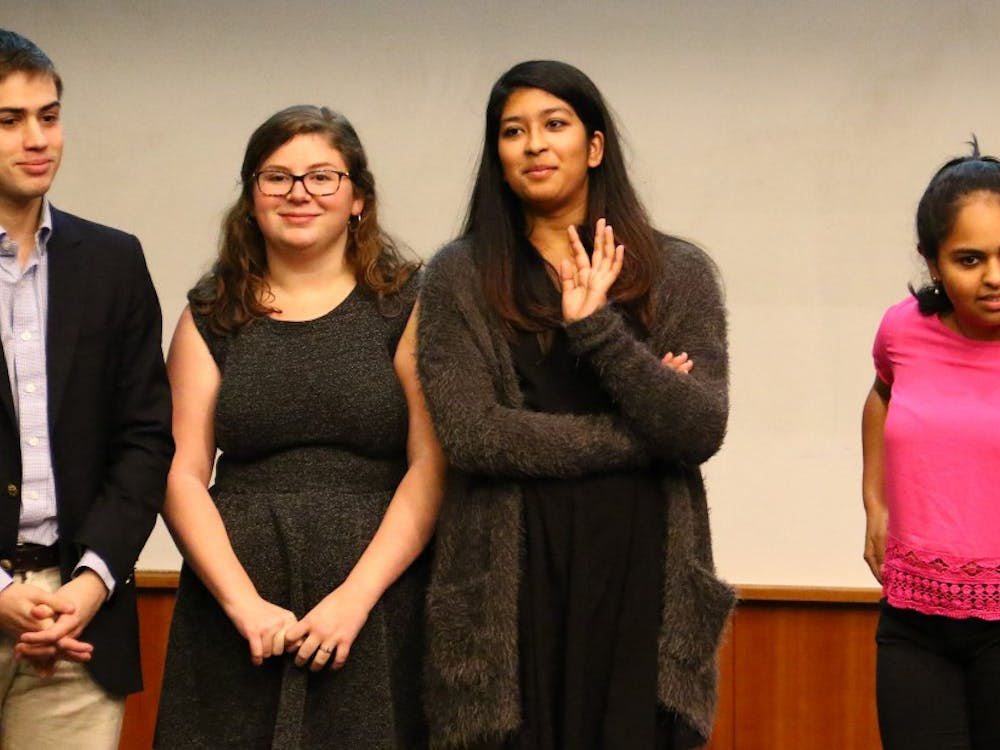 President-elect Tara Bansal, second from right, and the DSG Academic Affairs Committee are hoping to see more student-friendly resources on ACES.