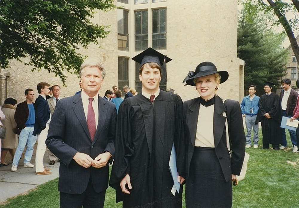 <p>Photo Courtesy of Wikimedia Commons</p> <p><br></p> <p>Brett Kavanaugh with parents at his graduation from Yale&nbsp;</p>
