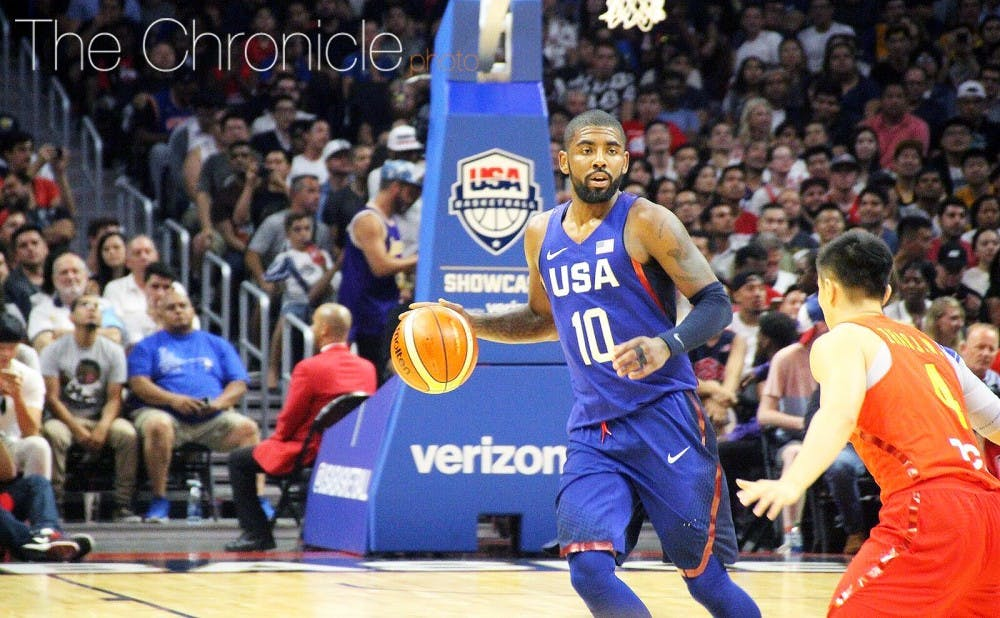 <p>Kyrie Irving is pursuing his first Olympic gold medal with the national team and former head coach Mike Krzyzewski&nbsp;this summer.</p>