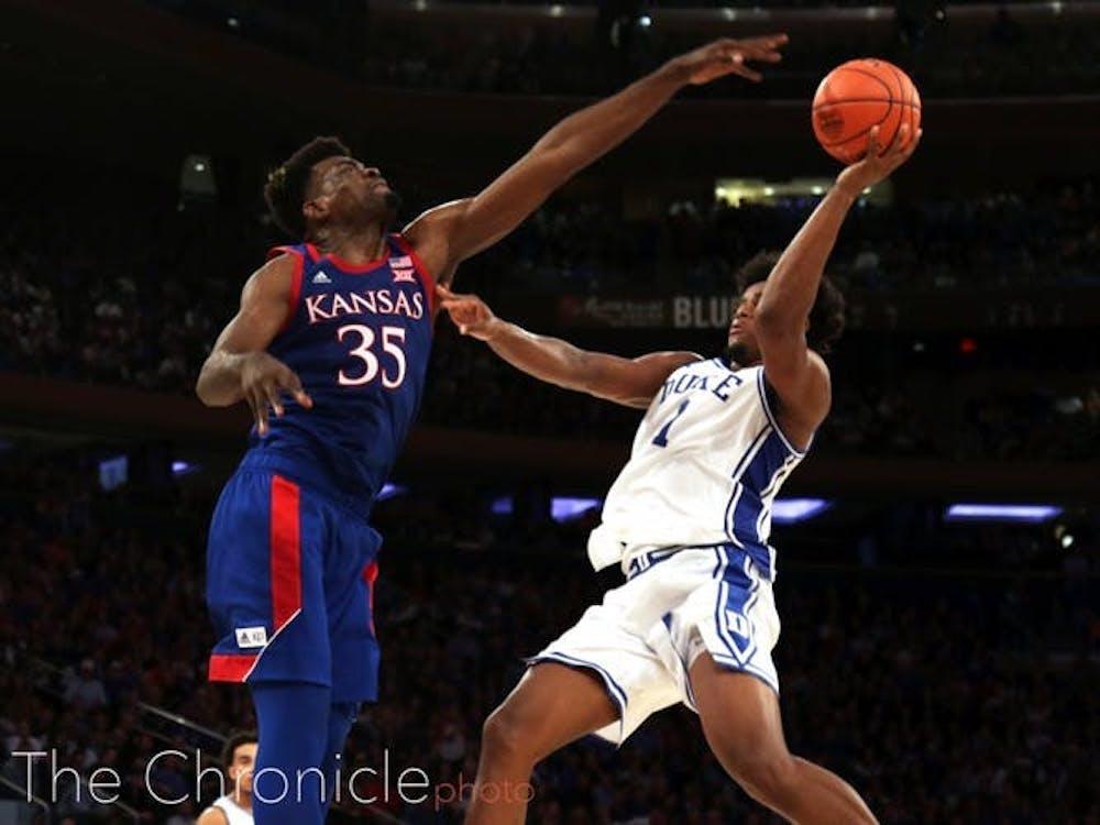 Freshman center Vernon Carey Jr. had his way with seasoned Kansas 7-footer Udoka Azubuike Tuesday in Madison Square Garden.