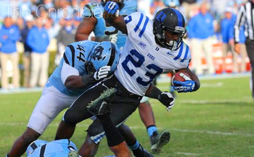 <p>Former Duke running back Juwan Thompson will suit up for the Denver Broncos in the Super Bowl this Sunday against the Carolina Panthers.</p>