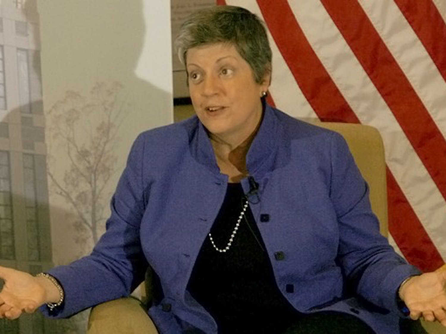 Secretary of Homeland Security Janet Napolitano speaks Thursday evening in the Sanford School of Public Policy.
