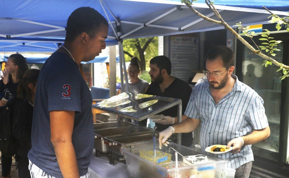 <p>Geer Street Garden served students tacos in the first Taste of West Union event on the BC Plaza Tuesday afternoon.</p>