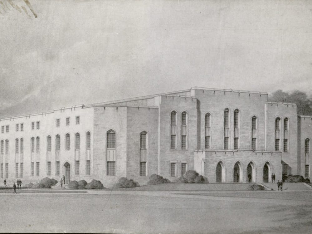 A look from the outside of Duke Indoor Stadium just before its opening in January 1940.