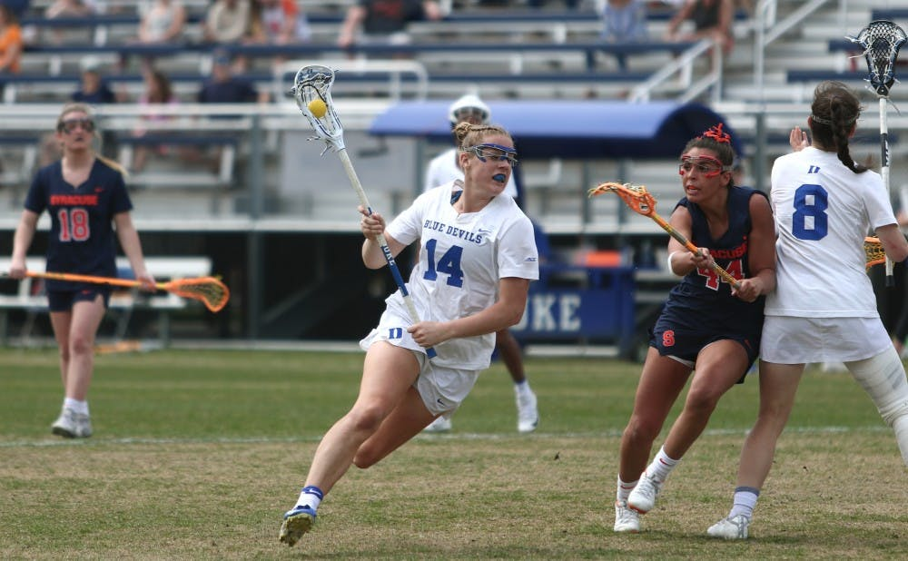<p>Olivia Jenner's six goals propelled Duke to a victory against Notre Dame.</p>