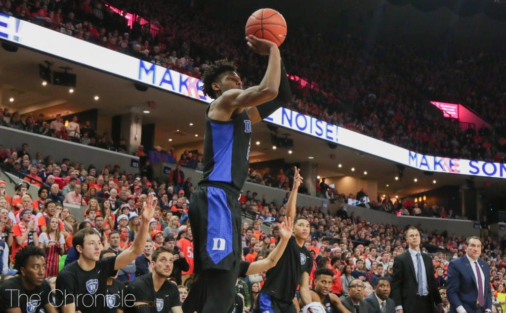 <p>Cam Reddish helped Duke overwhelm Virginia as the Blue Devils combined to shoot 13-of-21 from beyond the arc.</p>