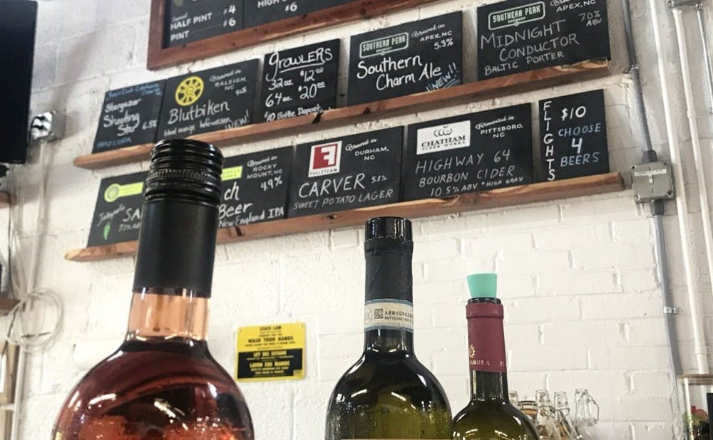 The Bar offers a selection of local and regional beers and ciders, but imports its wines.